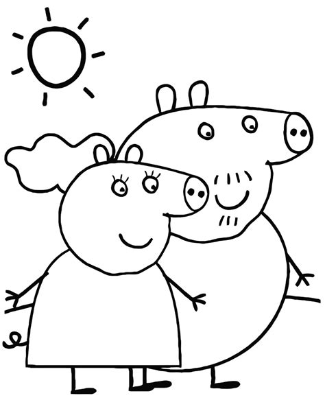 peppa pig swimming coloring page peppa pig colouring pages for kids