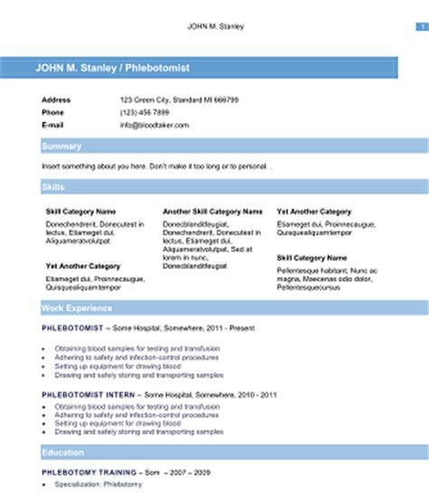 sle phlebotomy resume