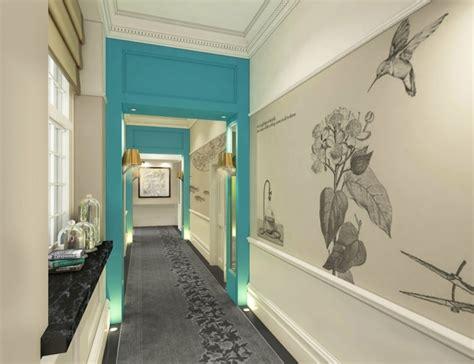 Le Langer Flur by Klassische Flur Gestaltung Ideen Tapeten Blaue Wandfarbe