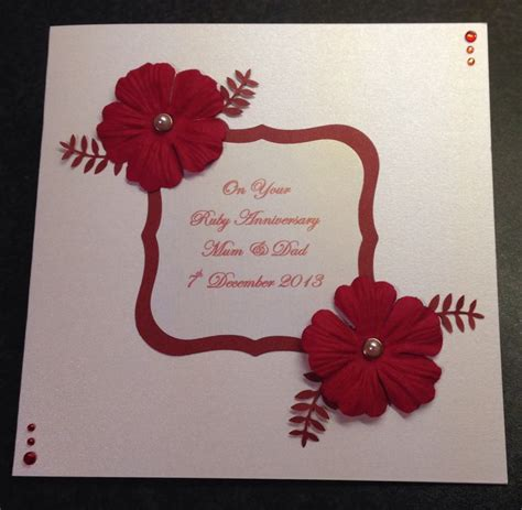 Handmade Ruby Wedding Cards - handmade ruby wedding anniversary card cards