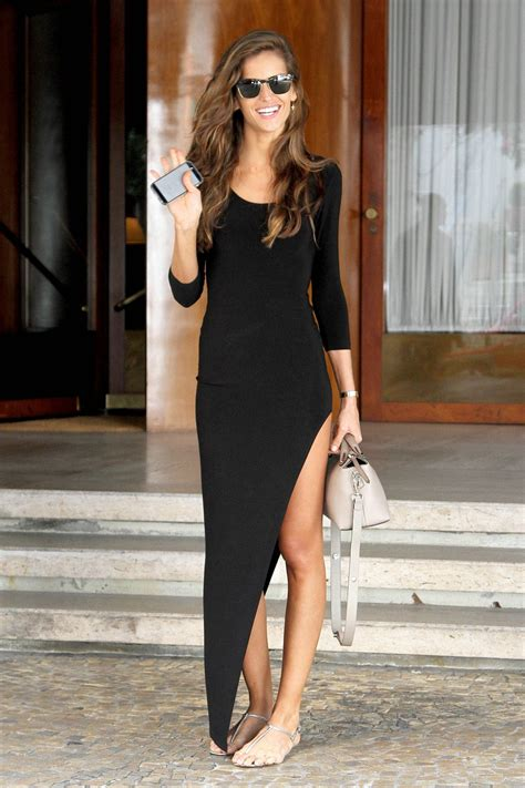 izabel goulart  black dress sao paulo april