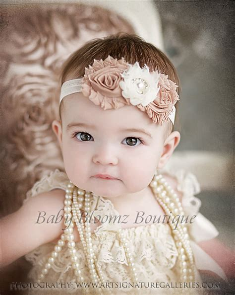 beautiful babies with headbands baby headbands baby headband ivory beige vintage headband shabby headband