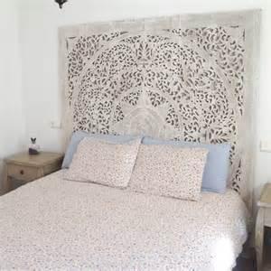large decorative white wash wall hanging headboard