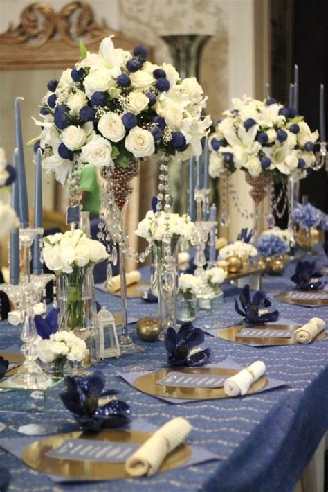 classic navy blue  broken white wedding table