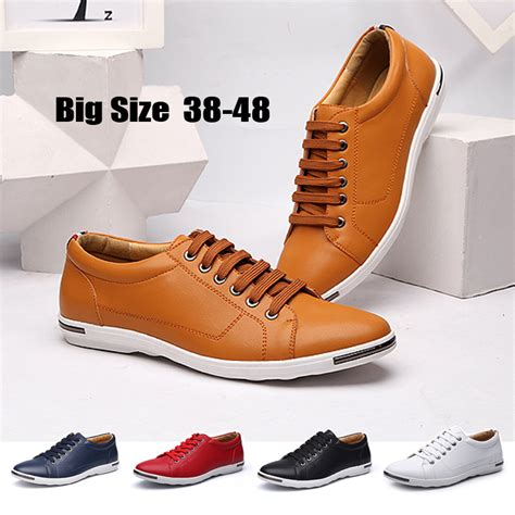 Heels Fashion Import 38 big shoes casual shoes fashion 38 48 loafers luxury leather lace up flat driving shoes