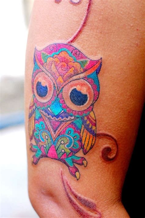 owl tattoo arm girl splendid owl watercolor tattoo on arm for woman just