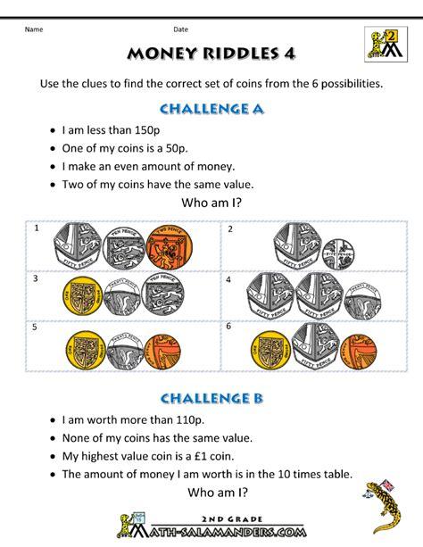 money worksheets for money riddles uk