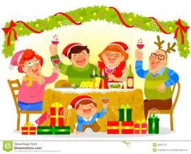Cartoon family eating christmas dinner