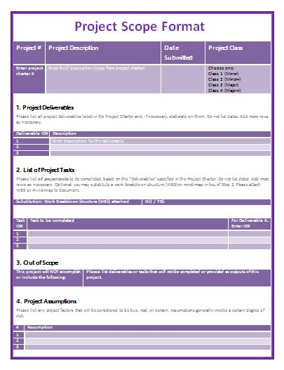 project scope template project scope statement template templates