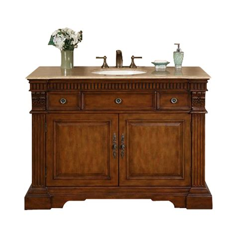 48 Bathroom Vanities With Tops Shop Silkroad Exclusive Cherry Undermount Single Sink Bathroom Vanity With Travertine