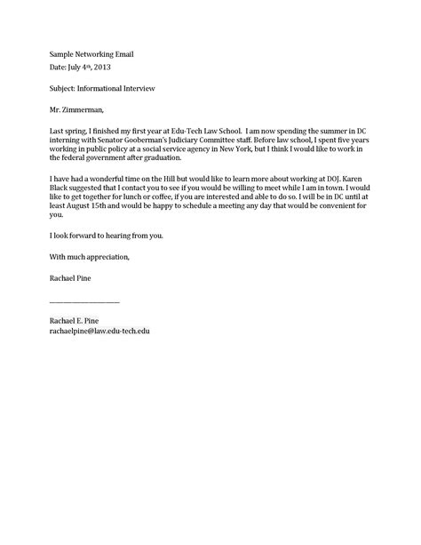 Networking Cover Letter Email self employment on resume exle resume for investment