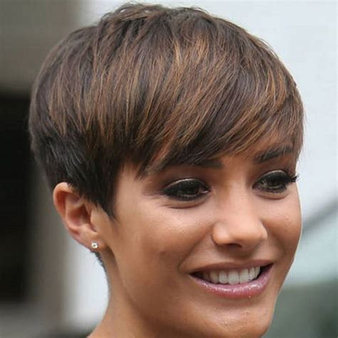 short pixie haircut with med brown and carmel highlights 21 lovely pixie cuts with bangs thicker hair pixie cut