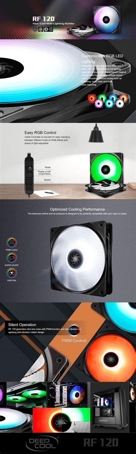 Deepcool Rf120 Rgb deepcool rf120 120mm customisable rgb led fan dp frgb