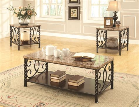 Marble Coffee Table Sets Coaster Lockhart 701695 Brown Marble Coffee Table Set A Sofa Furniture Outlet Los Angeles Ca