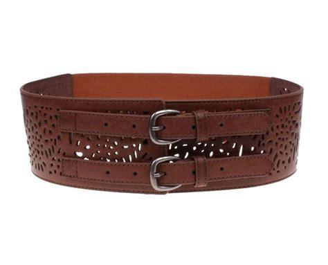 herebuy vintage leather elastic waist belt fashion wide