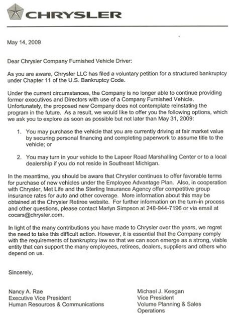 Complaint Letter To Ford Motor Company Gmc Volunteer Repossession