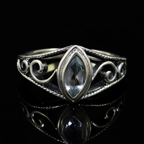 blue topaz 925 sterling silver ring uk size m beautiful