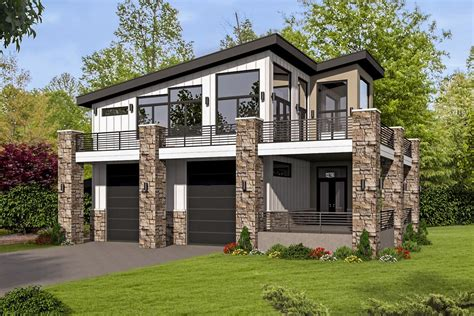 modern garage plans unique contemporary home with rv bays 68496vr architectural designs house plans