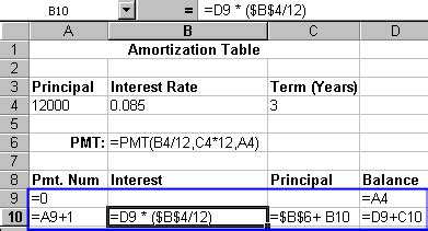 how to do an amortization table how do you create an amortization table with the pmt function