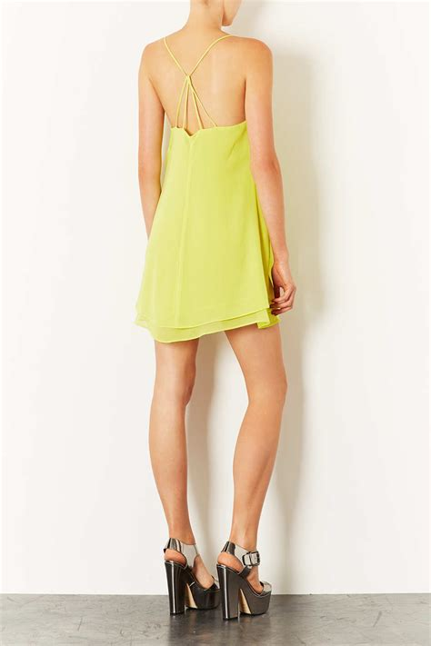 swing slip dress lyst topshop chiffon swing slip dress in yellow