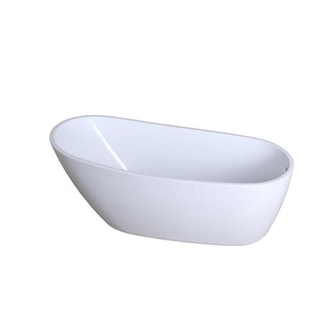 7 Ft Bathtub by Aqua Fusion 5 7 Ft Front Drain Freestanding Bathtub In White Hvtrs683128 The Home Depot