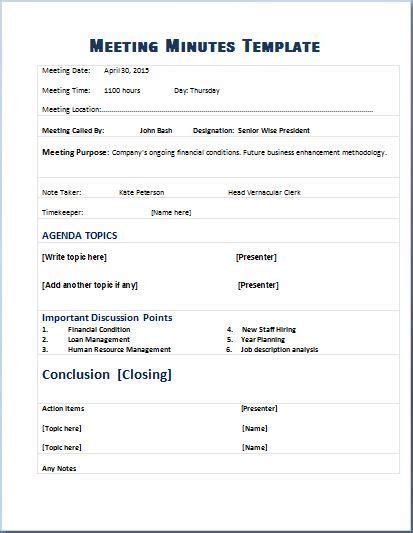 meeting summary template top meeting minutes template samples for