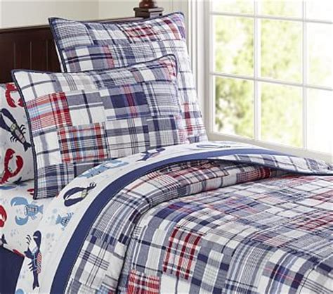 madras quilt navy pottery barn