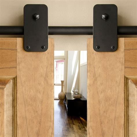 Black Plato Hanger Double Sliding Barn Door Hardware Kit Hanging Barn Door Kits