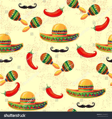 perfect pattern password mexican seamless music pattern sombrero hat stock vector