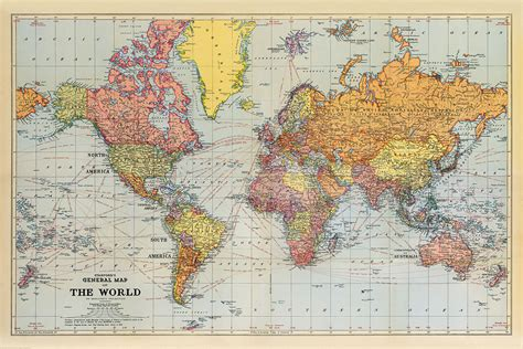 stanfords general map   world  xl size