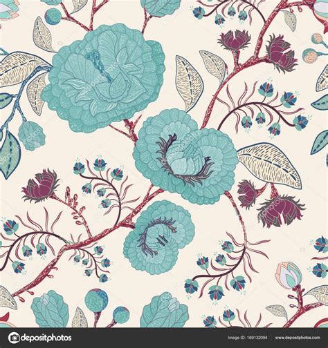 hand drawn wallpaper vector seamless pattern with stylized flowers and plants