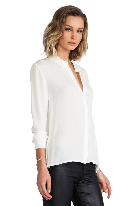 Theory Blouse by Theory Driya Silk Blouse In White In White Lyst