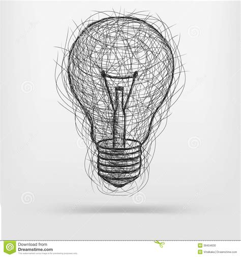 doodle of light sketch light bulb stock vector image 39404630
