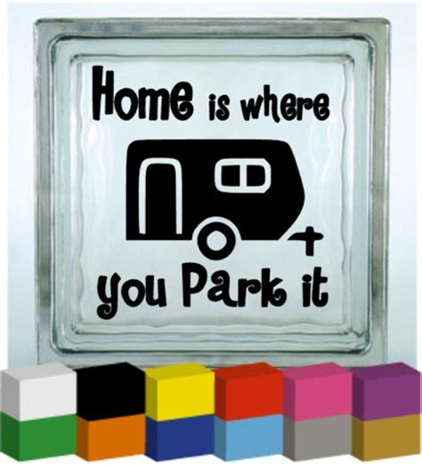 home is where you park it vinyl glass block photo frame