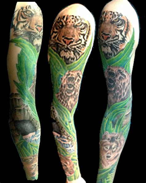 animal tattoo sleeve designs rainforest sleeve animal pictures to pin on pinterest