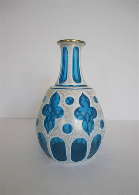 Vessel Vase by Gorgeous Blue White And Gold Bohemian Glass Vessel Or Vase For Sale At 1stdibs