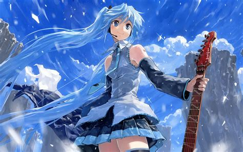 anime girl playing guitar wallpaper cute anime guitar wallpaper desktop wallpaper wallpaperlepi