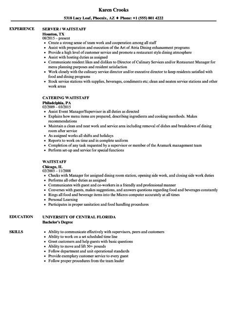 waitstaff resume sles velvet