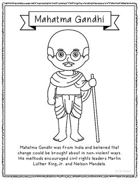 mahatma gandhi short biography video mahatma gandhi coloring page craft or poster with mini