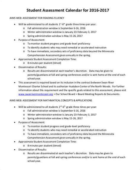 assessment calendar template 7 assessment calendar template free sle exle