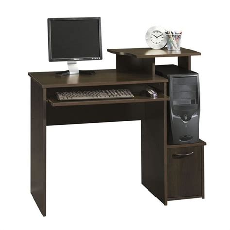 office beginnings wood computer desk in cinnamon cherry