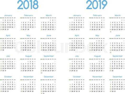New year 2018 and 2019 vector calendar modern simple design with round san serif font,Holiday