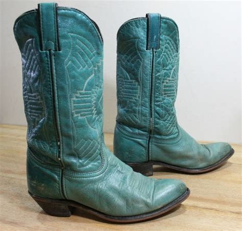 green cowboy boots vintage womens teal green leather cowboy boots size 7 5 m
