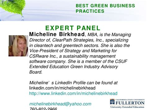 Csuf Business Mba by Csuf Best Green Business Practices Presentation