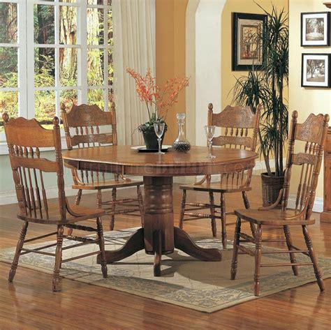 medium oak finish traditional pc dining set wpedestal base