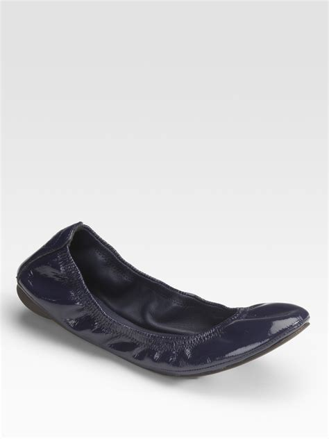 Flat Shoes Blue S30102 1 lyst burch eddie patent leather ballet flats in blue