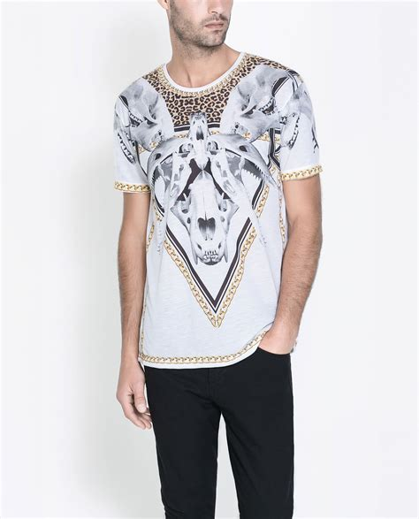 zara bones t shirt in white for lyst