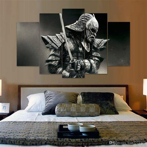 Formal Livingroom 2018 Unframed 5 Panel Samurai Canvas Painting Fashion Home