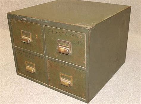 Index Card Drawer by Vintage Metal Index Card Drawers Four Drawers Authentic