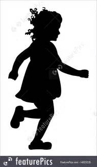 silhouette  girl running stock illustration